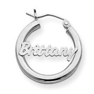 14K White Gold  Name Script Nickel Sized Hoop Earrings