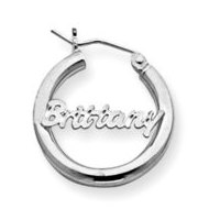 Sterling Silver Polished   Diamond Cut Name Script Nickel Sized Hoop Earrings
