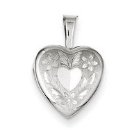 Sterling Silver Baby Polished Floral Wings Heart Locket