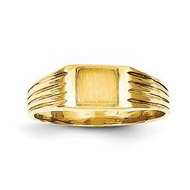 14K Gold Boy's Fancy Square Engravable Signet Ring