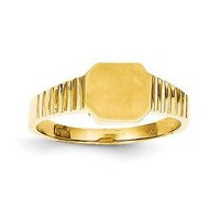 14K Yellow Baby Boy's Square Engravable Signet Ring