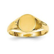 14K Gold Boy's Round Engravable Signet Ring