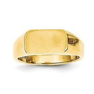 14K Gold Boy's Rectangle Shaped Engravable Signet Ring