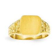 14K Yellow Gold Boy s Fancy Square Engravable Signet Ring
