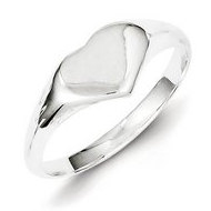 Sterling Silver Girl's Heart Shaped Engravable Signet Ring