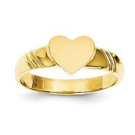 14K Yellow Gold Girl s Heart Shaped Engravable Signet Ring