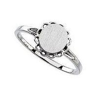 Sterling Silver Girl's Oval Shaped Engravable Signet Ring
