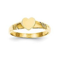 14K Yellow Gold Heart Shaped Engravable Signet Ring