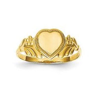 14K Yellow Gold Girl's Heart Shaped Engravable Signet Ring