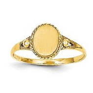 14K Yellow Gold Girl s Oval Shaped Engravable Signet Ring