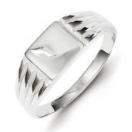 Sterling Silver Girl's Square Shaped Engravable Signet Ring