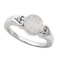 Sterling Silver Girl's Round Shaped Engravable Signet Ring