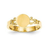 14K Yellow Gold Girl's Fancy Round Engravable Signet Ring