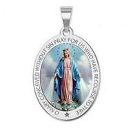 Miraculous Religious Medal  EXCLUSIVE  Color Oval Pendant