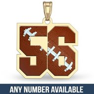 Color Enameled Football Number Pendant with 2 Digits