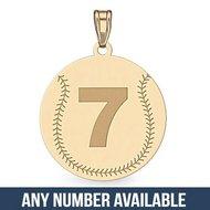 Custom Baseball  Pendant w/  Number