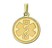 14K Filled Gold Round Medical Pendant