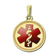 14K Filled Gold Round Medical Pendant With Red Enamel