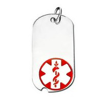 Sterling Silver Dog Tag ID Charm or Pendant W  Red Enamel