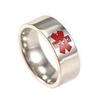 Women's Stainless Steel Red Enamel Medical Ring