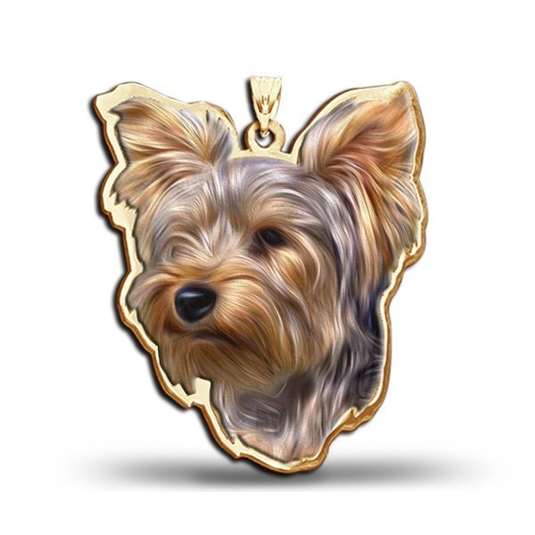Yorkshire Terrier Dog Color Portrait Charm Or Pendant