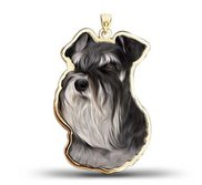Miniature Schnauzer Dog Color Portrait Charm or Pendant