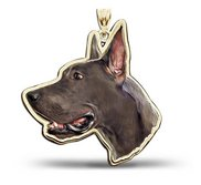 Great Dane Dog Portrait Color Charm or Pendant