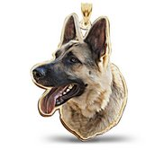German Shepherd Dog Color Portrait Charm or Pendant