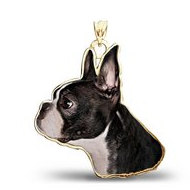 Boston Terrier Dog Color Portrait Charm or Pendant