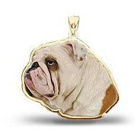 English Bulldog Dog Color Portrait Charm or Pendant