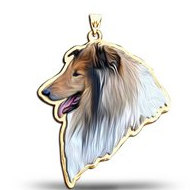 Collie Dog Color Portrait Charm or Pendant