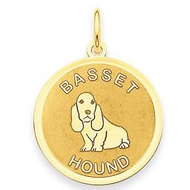 Basset Hound Disc Charm or Pendant