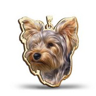Yorkshire Terrier Dog Color Portrait Charm or Pendant
