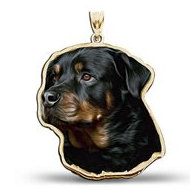 Rottweiler Dog Color Portrait Charm or Pendant