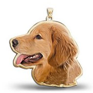 Golden Retriever Color Dog Portrait Charm or Pendant