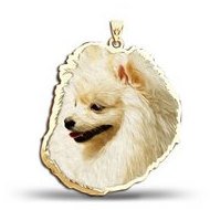 Pomeranian Dog Color Portrait Charm or Pendant