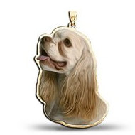 Cocker Spaniel Dog Color Portrait Charm or Pendant