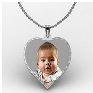 Sterling Silver Medium Heart Photo Pendant Charm with Diamond Cut Edge