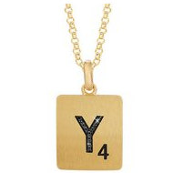Scrabble Black Diamond Letter  Y  with 18 Inch Necklace