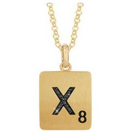 Scrabble Black Diamond Letter  X  with 18 Inch Necklace