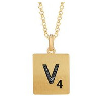 Scrabble Black Diamond Letter  V  with 18 Inch Necklace