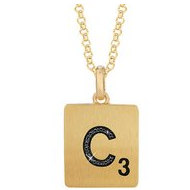 Scrabble Black Diamond Letter  C  with 18 Inch Necklace