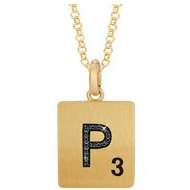 Scrabble Black Diamond Letter  P  with 18 Inch Necklace