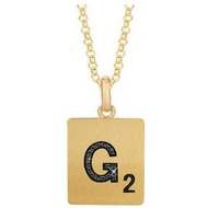 Scrabble Black Diamond Letter  G  with 18 Inch Necklace