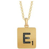 Scrabble Black Diamond Letter  E  with 18 Inch Necklace