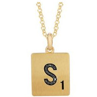 Scrabble Black Diamond Letter  S  with 18 Inch Necklace