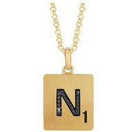 Scrabble Black Diamond Letter  N  with 18 Inch Necklace