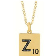 Scrabble Black Diamond Letter  Z  with 18 Inch Necklace