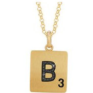 Scrabble Black Diamond Letter  B  with 18 Inch Necklace