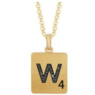 Scrabble Black Diamond Letter  W  with 18 Inch Necklace